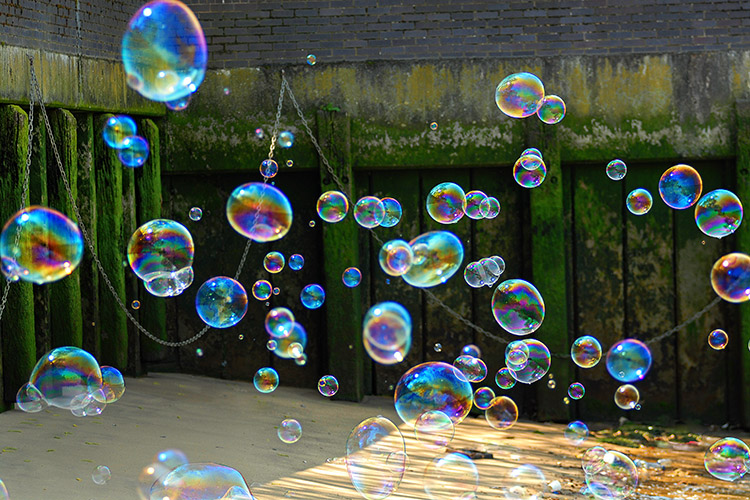 Bubbles over River Thames, London.